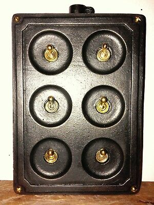 Vintage Industrial Reclaimed Cast Iron Crabtree 6 Gang Brass Toggle Light Switch