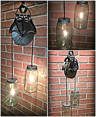 Nice Cast Iron Wood Barn Pulley Light with Vintage Blue Green Mason Jars - Sale!