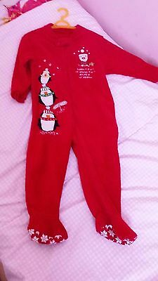 Red Christmas all in one sleep suit aged 18-23 months