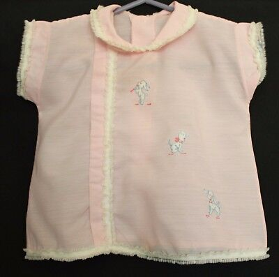 VINTAGE 1960s Baby Girl Pale Pink Blouse w Embroidered Puppies Design 00