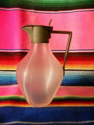 ANTIQUE 19th C. VICTORIAN THREADED GLASS SYRUP PITCHER