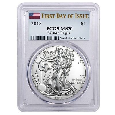 2018 1 oz Silver American Eagle $1 Coin PCGS MS 70 FS (Flag Label) First Day !