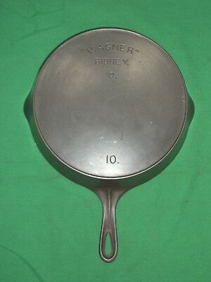 "Very Nice #10. ""wagner"" Sidney, O Cast Iron Skillet W/ Heat Ring No Reserve"
