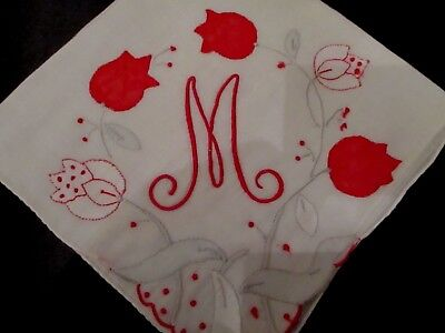 Vintage Red monogram M Madeira hanky applique hand rolled