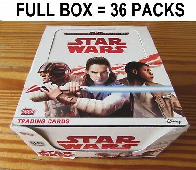 Star Wars Journey To The Last Jedi FULL BOX 36 Packs 288 Trading Cards 2017 NEW