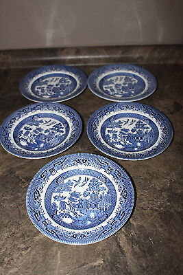 Churchill Blue Willow Pattern Five Salad Plates or Bread Plates made in England