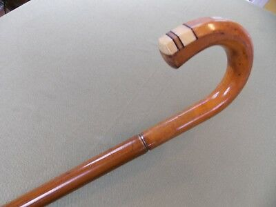 Vintage Gadget Umbrella Cane With Gorgous Inlaid Handle And Functional Canopy.