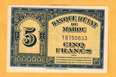 Morocco Five Francs P24 Unc 1943 Printed By E. A, Wright In Phil,usa Star On Rev