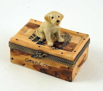 New Hand Painted French Limoges Box Pit Bull Terrier Dog On Yellow Box
