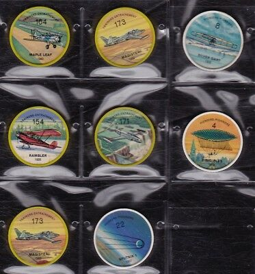 Jello and Hostess Picture wheels of various aircraft - lot of 8