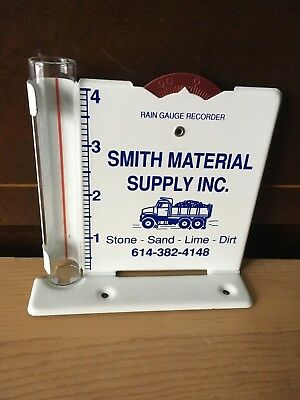 Vtg Metal Tin Rain Gauge Recorder Smith Material Supply Stone Sand Lime Advert