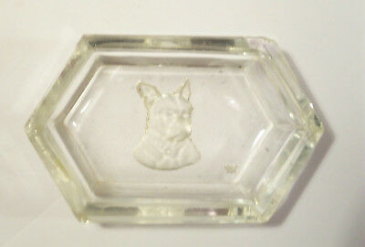 Vintage Dog Glass Crystal Tray Salt Dip ? French Bulldog Signed Bee Buterfly ?