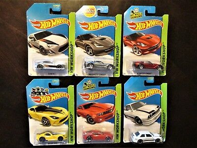 Lot of 6 2014 Hot Wheels HW Workshop Die-cast Vehicles, NEW, Sealed on Card