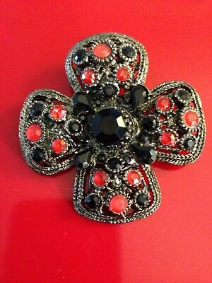 Vintage Silver Tone/antique Finish Cross Brooch With Red & Black