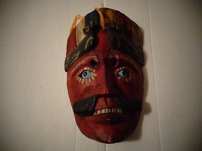Vintage Mexican Wooden Mask with Glass Eyes Folk Art