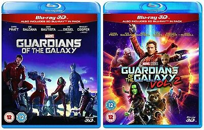 GUARDIANS OF THE GALAXY 1 & 2 [Blu-ray 3D + 2D] Marvel Set Volume One + Two