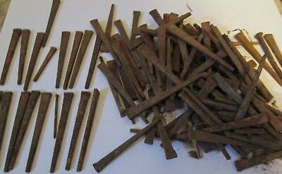 Lot 3lbs old unused square T head steel cut nails 2 1/2 in. long. rusty