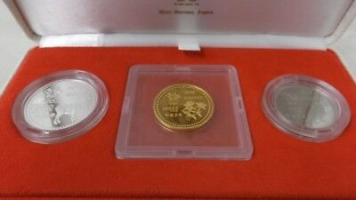 Japan Gold Coin Nagano Olympic 3 coins Proof Set,1997 First  Isuue,Very Valuable