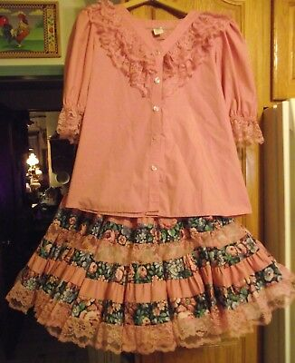 Vintage 70's Malco Modes 2pc Square Dance Outfit Sz M/S  Rose Pink and Print