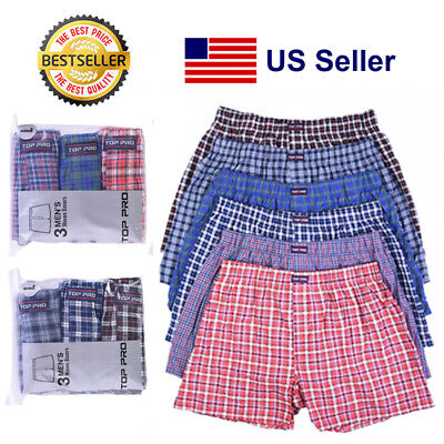 Lot 3 6 Mens Woven Trunk Boxer Shorts Plaid Underwear High Quality Comfy (S-3XL)