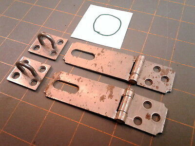 Matched Pair Folding HINGED HASP and KEEPER Steel HARDWARE VTG No. O