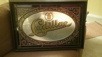 Original Cadillac Dealer Promo Stained Glass sign rare gas oil car lead