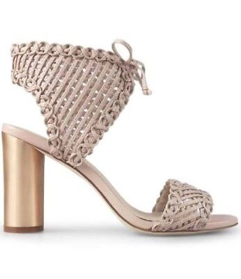 WITTNER Racquel Pink Weave Heels - Thick block gold heel shoes lace up 7 7.5 38