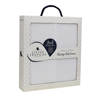 Living Textiles Change Pad Mat Cover Jersey WHITE