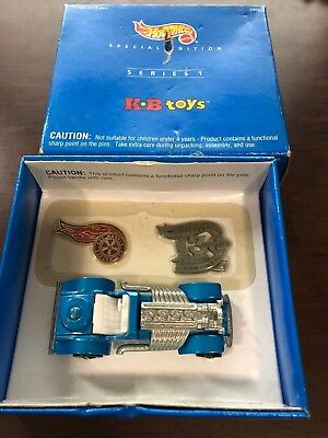 HOT WHEELS SPECIAL EDITION SERIES 1 KB TOYS EXCLUSIVE CAR & PINS sweet 16 blue
