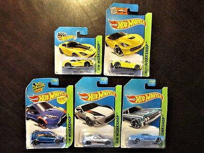 Lot of 5 2014 Hot Wheels HW Workshop Die-cast Vehicles, NEW, Sealed on Card
