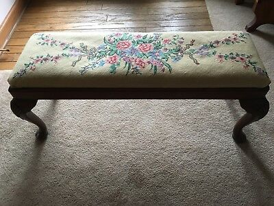 Vintage Wood Bench With Needlepoint  Cabriole  Legs Seat 36 Inch Antiques
