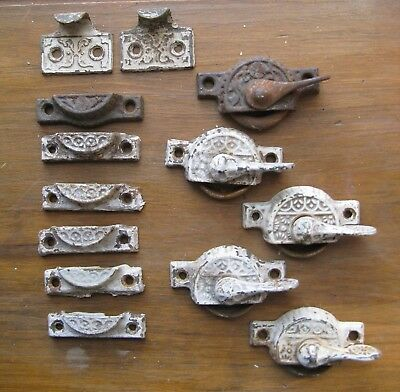 Antique Victorian Eastlake Window Sash Locks Keepers Tabs Hardware Cast Iron