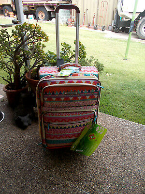 Lily Bloom Trolley Luggage Multi Colour Soft Recycled Material Rrp$220 As New