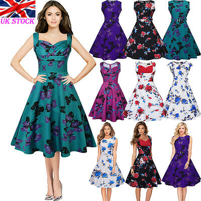 UK Vintage Womens Butterfly Rockabilly Swing Retro 50s 60s Pin Up Party Dresses