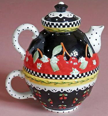New At Home w/Mary Engelbreit Tea For One Very Cherry Tea Pot 2001 NRFB