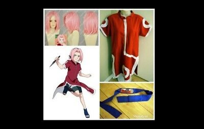 Haruno Sakura Cosplay Full Set Costume Wig Ninja Headband Naruto Womens Large
