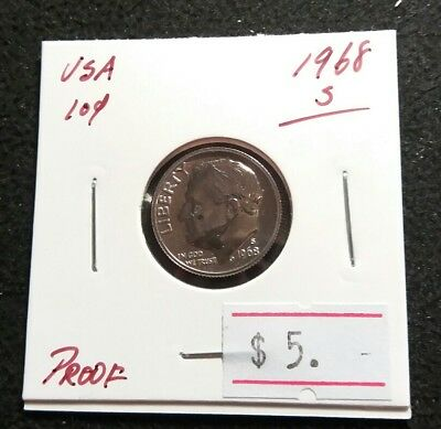 USA 1968-S Roosevelt Dime PROOF Very Nice High Grade Coin (#777)