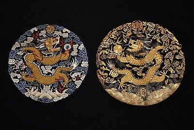 Pair Majestic 19th C Antique Chinese Dragon Rank Badge Roundel Silk Embroidery