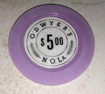 O'Dwyers $5 Illegal Casino Chip New Orleans LOUISIANA 2.99 Shipping