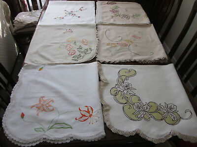 Six Vintage Hand Embroidered Tablecloths ~ Craft Sewing Or To Use