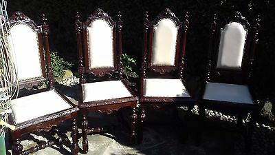 4 Antique High Back Very Ornate Carved Oak Chairs