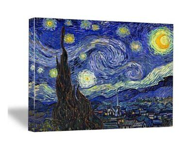 FRAMED Van Gogh Starry Night Abstract Painting Canvas Prints Wall Art Room Decor
