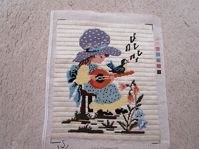 Long & Cross Stitch Of A Gils With Guitar & Singing Bird 25 X 29Cms