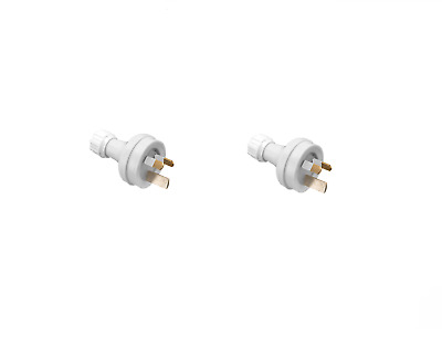 2X Clipsal 439S15 15A 240/250V A.c. Cord Extension 3-Pin Male Socket Aus White