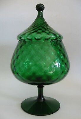 Mid Century 1960's EMERALD GREEN Lidded PEDESTAL CANDY Apothecary JAR Retro