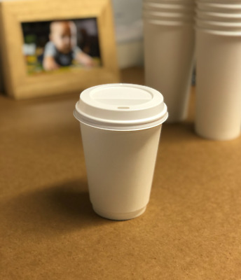 DOUBLE WALL WHITE KRAFT INSULATED DISPOSABLE Coffee Paper CUPS LIDS Drink 100