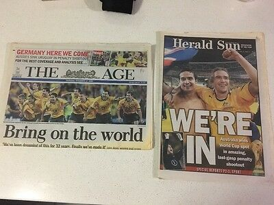 HERALD SUN AND THE AGE NEWSPAPERS 'Socceroos In World CUP' Great Cond.