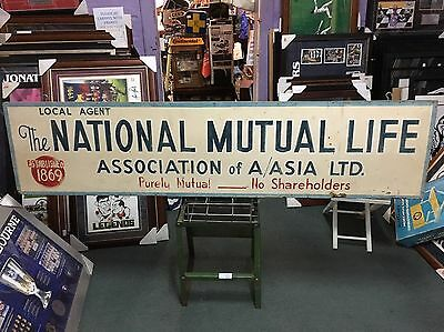 Rare Vintage NATHAN MUTUAL 1960s. Wooden Double Sided Painted Sign NON ENAMEL