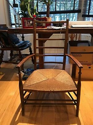Arts and Crafts, William Morris ladder backed chair with rush seating