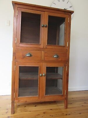 Vintage Leadlight Meat Safe Cupboard Kitchen Dresser Cabinet Rustic Wooden